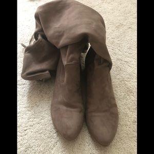 Over the Knee Tan/Beige Suede Boots